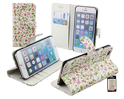 """Emartbuy® Apple Iphone 6s / Apple Iphone 6 4.7"""" Inch Premium PU Leather Portefeuille Étui Coque Case Cover Pouch Rose Blossom Avec des Fentes de Cartes Portefeuille Case en Floral Rose / Vert"""