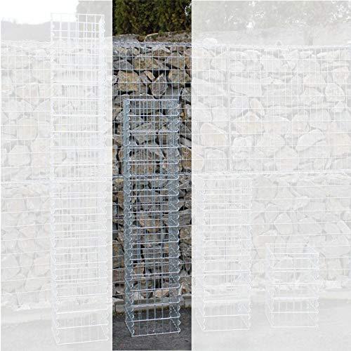 ESTEXO Gabionen-Säule 150 cm Höhe - feuerverzinkt - 4-Eck Säulengabione, Steinkorb,Gabione, Maschung, 10x5 cm ...