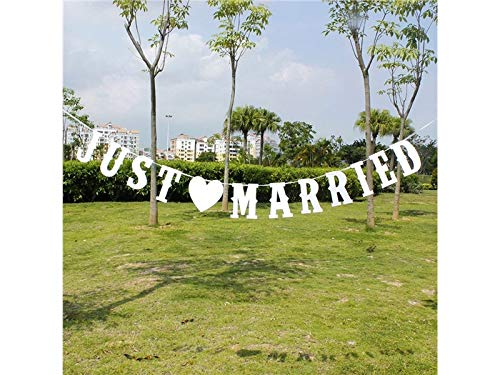 Dekoration Just Married Englisch Brief String Flag für Hochzeit Dekoration (weiß) für Zuhause