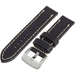 Tech Swiss LEA1550-22 22mm Leather Calfskin Black Watch Band.