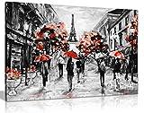 Modern modernes schwarz weiß rot Paris Eiffelturm Leinwand Wandbild Kunstdruck Bild, A2 61x41 cm (24x16in)