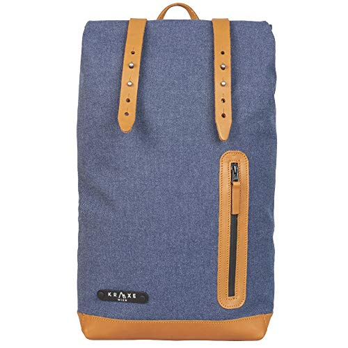 Kraxe Wien Azoren Rucksack - Canvas Backpack - Leder 17 Liter (Blau)
