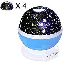 Proyector Estrellas de OKE, Nueva Generación de 360 Grados de Rotación, 4 Tapas Top Diferentes Patrones, 3 Modo de Luz del Proyector de la Estrella Romántica Cosmos Luna del Cielo de la Lámpara de Proyección de Luz Nocturna Dormitorio Lluminación de Decoración para Niños, Bebés, Regalos de la Navidad /Cumpleanos (No incluye las baterías) -