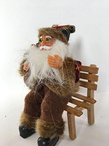 Papá Noel Navidad–Decoración–Figura Sentado Sobre Silla de madera