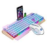 Wokee Wireless Tastatur Maus Set M938 LED,Tastatur und Maus für Laptop PC Tablet und Smart TV,Backlit Usb Ergonomische Gaming-Tastatur + Gamer Maus Sets + Mauspad (Schwarz)