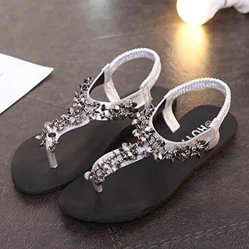 Saingace Frauen Sommer Fashion Bohemia Strass Bling Bling Sandalen Peep-Toe Beach Schuhe Silber