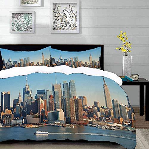 Yaoni Bettwäsche-Set, Mikrofaser,Urban, New York City Skyline über Hudson River Empire State Building Boote und Wolkenkratzer, Multicolor, 1 Bettbezug 220 x 240cm + 2 Kopfkissenbezug 80x80cm (Bettbezug New York City)