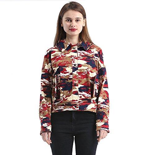 HUAN Damen-Frauen-Dame Jackets, 2018 Neue Mode-Camouflage-Lose Mädchen-Mantel-Jacke (Farbe : 1, Größe : XXL)