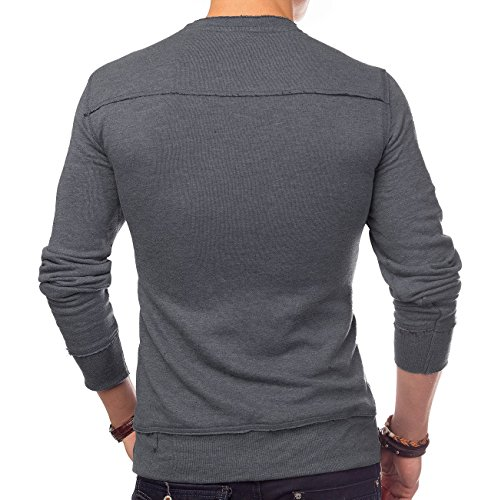 Men's Long Sleeve Pullover WayOfLife ID1393 (gray / blue) Grau