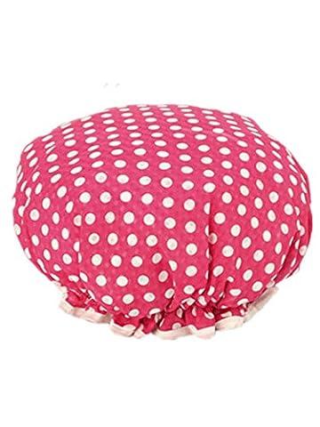 Moolecole Femmes Polka Dots Printed Double Layer Bonnet De Douche Elastic Band Shower Cap Spa Bonnet De Bain Rose Rouge