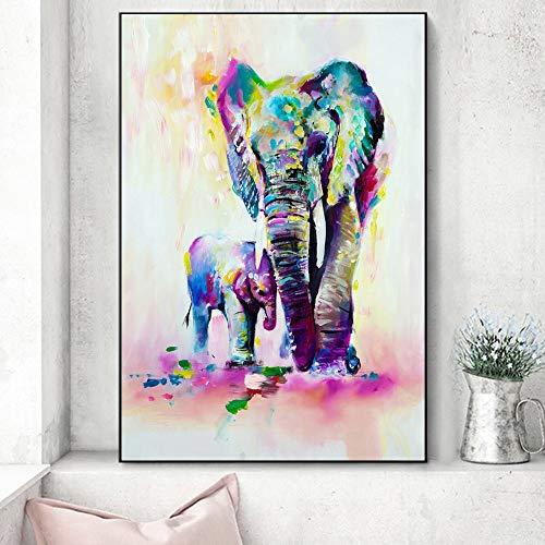 Acuarela Elefantes Wall Art Canvas Prints Abstract Wall Graffiti Animales Pinturas en...
