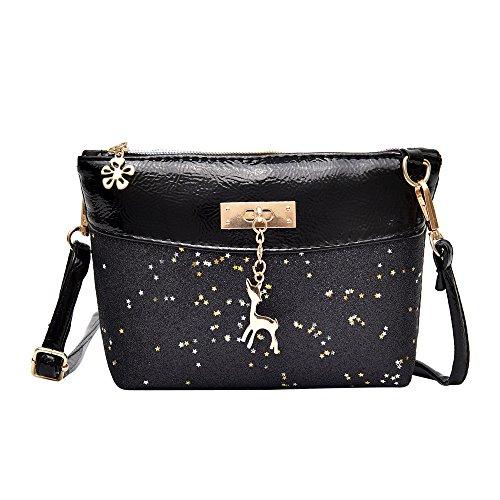 Handtasche Damen Btruely Mädchen Messenger Crossbody Vintage Tasche Damen Kleines Shell Leder Handtasche (T Blau) -