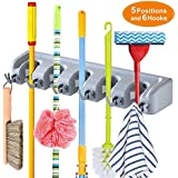 HomeFast Mop and Broom Holder, 5 Position with 6 Hooks Garage Storage Holds up to 11 Tools