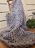 Knitted Blanket Große Stricken Dicke Decken Weiche und Warme Winter Bett Sofa Teppiche Handgestrickte Dick-Linie Decken,1,150 * 180Cm