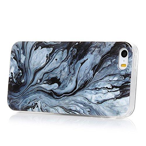 Lanveni Custodia Cover Morbido TPU Silicone Ultra Sottile per iPhone 5/5S/SE Paraurti Protective Case Caso - Disegno Marmo, Grigio Bianco Grigio