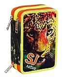 Trousse Scolaire 3 Compartiments , SJ Gang , FRIENDS NATURE , Tigre , Vert Multicolore , Avec contenu: crayons, stylos ...!