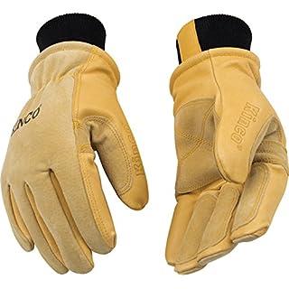 KINCO 901 Men's Pigskin Leather Ski Glove, HeatKeep Thermal Lining, Draylon Thread, Small, Golden