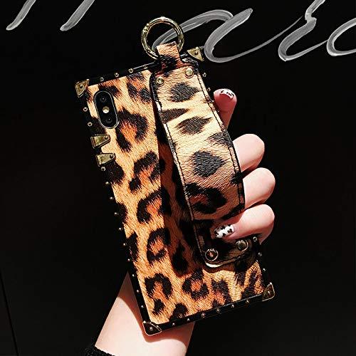 Ip Square (GUYISJK Handy Shell Kunstleder Leopard XS Max Xr All-Inclusive 8X Silikon Anti-Drop 8 Plus Leder Armband Ip7 Plus 7 P Persönlichkeit 6 Splus Square Damen Handytasche, Ip-Xsmax Armband Lila Leoparde)