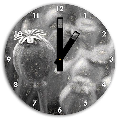Stil.Zeit Mohnkapsel der Mohnblume Kunst Kohle Effekt, Wanduhr Durchmesser 30cm mit schwarzen eckigen Zeigern und Ziffernblatt -