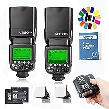 2Pcs Godox V860II-N Flash Speedlite con Incorporado 2.4G con i-TTL Flash Automático + X1T-N Tranmisor +2Pcs Li-on Batería + 2Pcs Flash Difusor Softbox para Nikon D800 D700 D7100 D7000 D5200 D5100 D5000 D300 D300S D3200 D3100 D3000 D200 D70S D810 D610 D90 D750