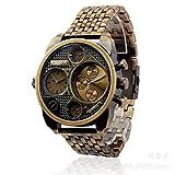 HWCOO Hermoso Relojes de Pulsera Oulm Men's Gold clásico Retro dial Doble Zona horaria cinturón de Acero Mesa aleación cinturón Reloj de los Hombres (Color : 1)