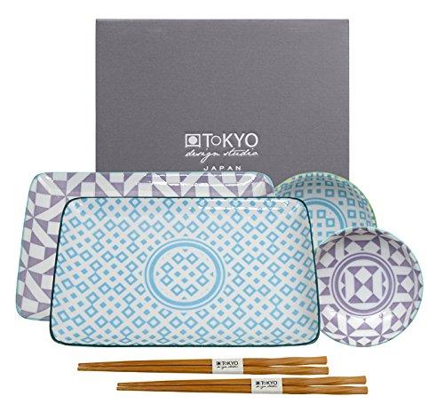 Tokyo Design Studio Geometric Eclectic Sushi Set. 6-teilig 2 Sushiteller, 2 Dipschälchen, 2 Paar Essstäbchen. Aus hochwertigem Porzellan. In schöner Geschenkbox. Spülmaschinenfest. Mikrowellengeeignet
