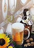 Einladungskarten 50. Geburtstag Frau Mann mit Innentext Motiv Bier Sonnenblume 10 Klappkarten DIN A6 im Hochformat mit weißen Umschlägen im Set Geburtstagskarten Einladung 50 Geburtstag Mann Frau K164