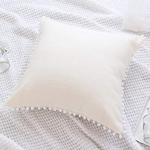 Funda de almohada de algodón puro, funda de almohada decorativa con flecos y bola de borla sin relleno de almohada para dormitorio o sala de estar, blanco