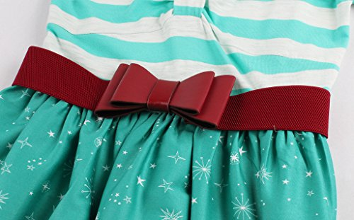 Eudolah Damen Kleid Spring Schwingen Tanzen Vintage Karo Bunt Gruen Newyork