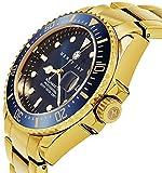 Henry Jay da uomo in acciaio INOX placcato oro 23K 'specialty Aquamaster professionale Dive orologio