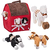 "Prextex Plush Farm House with Soft and Cuddly 5"" Plush Horses, Farm Boy, and Farm House Barn Carry Along Case"
