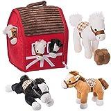Casa granja de peluche Prextex con caballos de peluche suaves para abrazar de 12,7 cm - Granjero y Casa Establo de Transporte