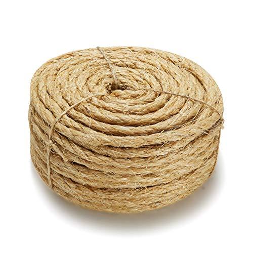 Supremery Natur Sisal Seil für Katzen - Sisalseil für Kratzbaum Katzenbaum extra robust und langlebig - 30 Meter, 8mm stark