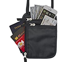 Travel Neck Wallet RFID Blocking Pouch and Family Passport Holder for Safety (Black)