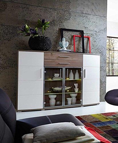 Hightboard in Silbereiche Nachbildung, Fronten in weiß-Struktur und Absetzungen in Silbereiche Nb, LED-Beleuchtung, Maße: B/H/T ca. 171/134/44 cm