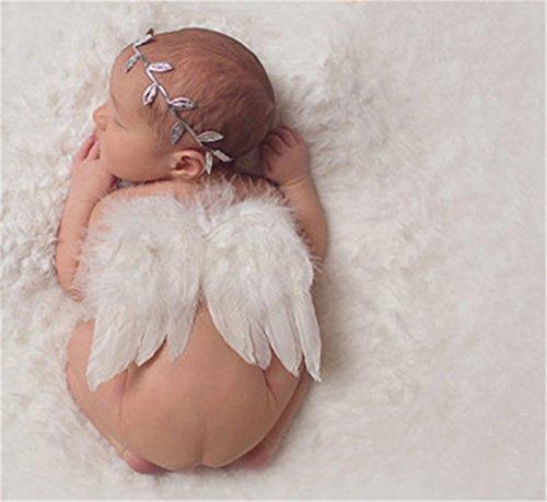 Interesting® recién nacidos apoyos de la fotografía del bebé infantil Ángel blanco de la pluma de las alas de la pluma del apoyo de la foto Alas Ropa