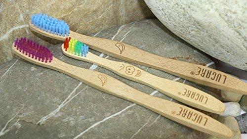 LUCARE ® ❤ Ökologische Bambus- Holz- Zahnbürsten ✔ BPA-Frei mit mitlerer Härte ❀ Biologisch abbaubar ❤ 3er-Set Familienpackung 2 Erwachsenen- und 1 Kinderzahnbürste ❷+❶ - 6