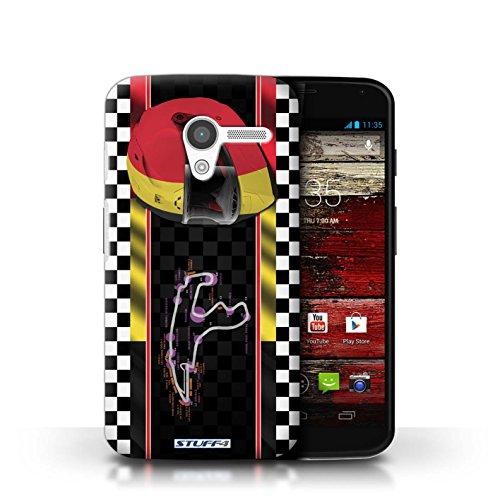 Custodia/Cover Rigide/Prottetiva STUFF4 stampata con il disegno F1 identificazione della traccia per Motorola MOTO X - Italia/monza Belgien/Spa