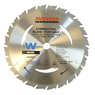 Avenger AV-82524 Combination cut saw Blade for portable saw, 8-1/4-inch by 24 tooth, 5/8-inch arbor with diamond KO, C-2, ATB