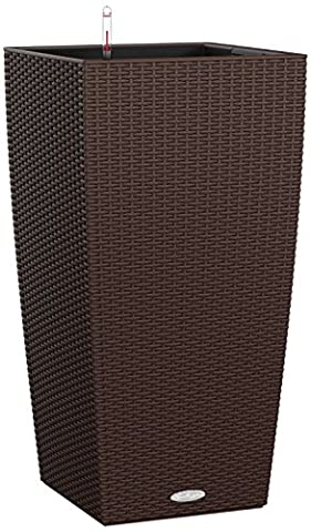 Lechuza Cottage Cubico 40cm Rattan Look Mocha Self Watering Tapered