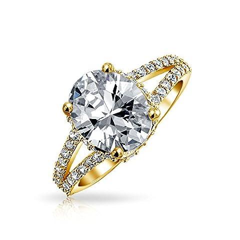 Bling Jewelry Pendentif en argent plaqué or 3ct Oval CZ bague de fiançailles