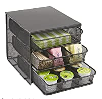 Safco 3275BL Onyx Mesh Hospitality Organizer with 3 Drawer - Black