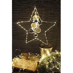 Arnusa LED Stern Weihnachtsstern mit 60 LED'S und Kugeln zum Hägen Timer und Batterie betrieben