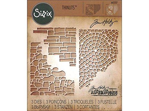Sizzix Thinlits Stanzen Set 3 Stück-Gemischte Medien #4 von Tim Holtz, Steel, silver, 19.1 x 14.4 x 0.4 cm