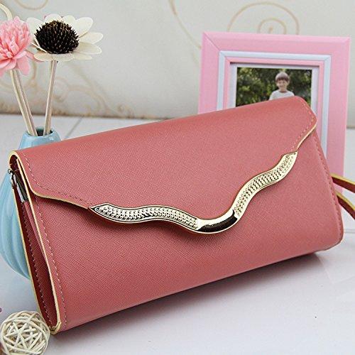 HQYSS Borse donna Sig. ra portatile spalla Messenger portafoglio lungo , rose red pink