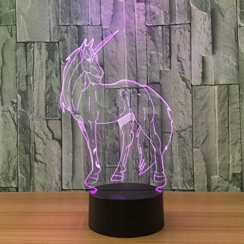 Unicornio 7 que cambia de color Luz de la noche Coleccionable 3d Led mesa Lámpara de escritorio Figura de dibujos animados Niños junto a la cama Dormir lámpara