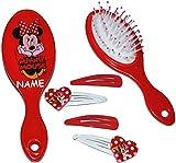 Unbekannt Set: Haarbürste + 4 Stück Haarspangen -  Disney Minnie Mouse  - incl. Name - für Mädchen / Kinder - Schmuck Haarschmuck - Blumen rosa Accessoires Haarspange..