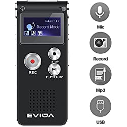 EVIDA Grabador de voz digital de 8GB Construido en reproductor de música MP3, Black Audio Dictaphone, Multifuncional recargable Super Light Sound Reproductor de dictáfono con 0.5W incorporado de forma clara Altavoz