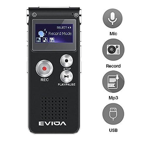EVIDA Enregistreur vocal numérique de 8 Go intégré Lecteur de musique MP3, Dictaphone audio noir, Lecteur de dictaphone super léger rechargeable multifonction avec intégré 0.5W clairement Haut-parleur