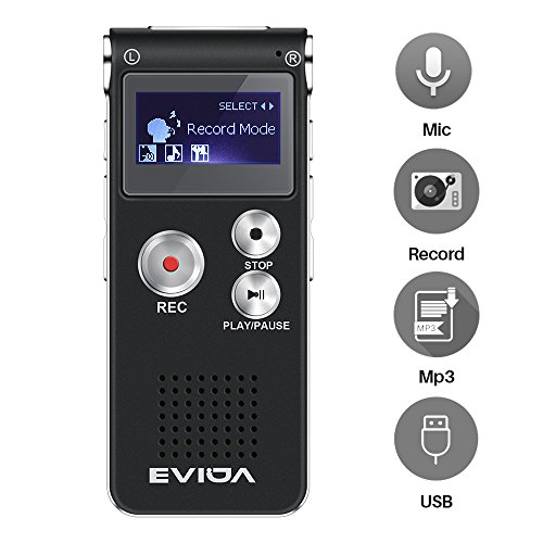 Galleria fotografica EVIDA 8GB Digital Voice Recorder Costruito in lettore di musica MP3, nero Dictafono audio, multifunzione ricaricabile Super Light Dictaphone Player con built-in 0.5W chiaramente altoparlante